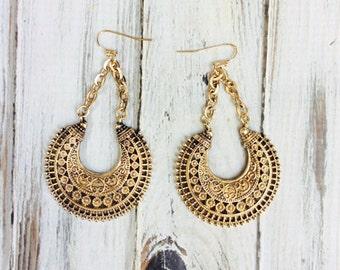 SALE- Boho Earrings, Filigree Earrings, Bohemian Dangle Earrings, Long Earrings, Chandelier Earrings
