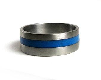 Thin blue line ring Etsy