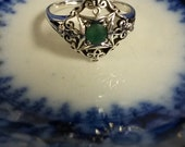 Size 7 7/8 Sterling Silver 925 Natural 1/3ct Emeralds Seed Pearls Victorian Antique Ring Stunning