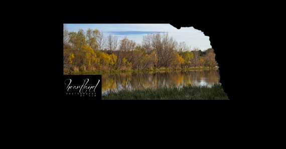 Nebraska Art, Fall Image, Unique Prints, Acrylic Wall Art, Bright Colors, State Shaped Photo, Autumn Decor, Reflection Picture, Custom Shape