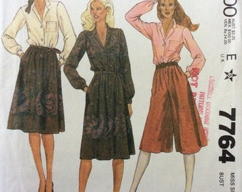 McCall's 7764 UNCUT Misses Blouse, Culottes and Skirt