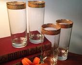 Set of four tall J. Preziosi Lavorato A. Mano glasses made in Italy
