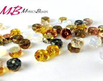 120 pcs Rondelle Bead Mix, Honey Butter Czech Glass Bead Mix, 3x6mm