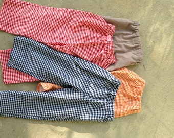 Gingham Check Pants with Elastic Waist and Fully Lined - Sizes 3 months to 3T