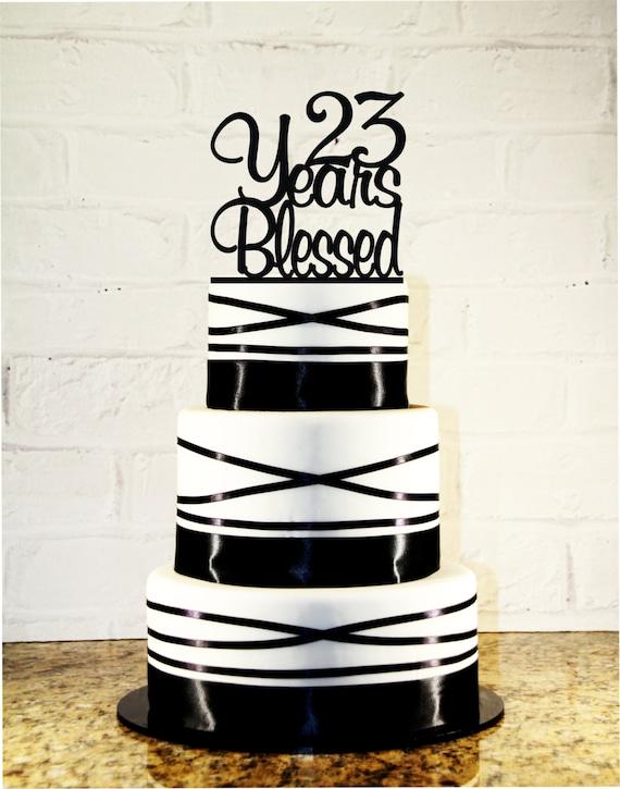Items similar to 23rd birthday wedding anniversary cake topper items similar to 23rd birthday wedding anniversary cake topper 23 years blessed custom on etsy thecheapjerseys Gallery