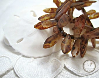 Brown Matte Dagger Picasso Glass Beads Brown Dagger Czech Glass Beads Brown Dagger Czech Beads Brown Beads 15x5mm (20pcs) 18V3