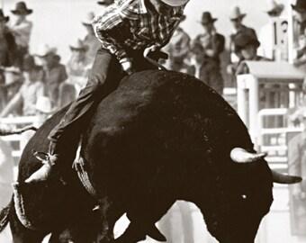 Vintage Rodeo poster, Bucking Bull, Bull Riding, Honest Bucker, Cowboy, Bull Rider