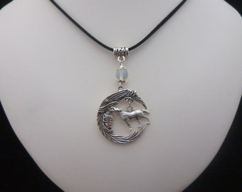 Silver Moonstone Moon Wolf Black Velvet Pendant Necklace – Pagan -Wicca - Goth