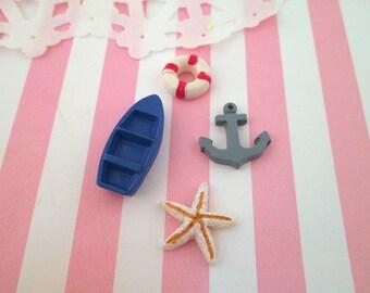 Four Nautical Boating Cabochons, Set of Aquatic Sailor Cabs, #539
