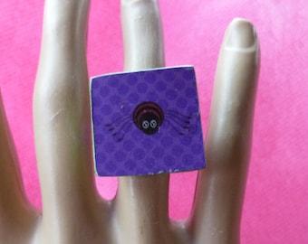 Halloween Purple Spider Scrabble Tile Ring