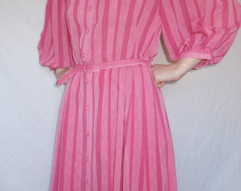 Vintage dress 80s by Nicki Ferrari pink striped dress size small medium