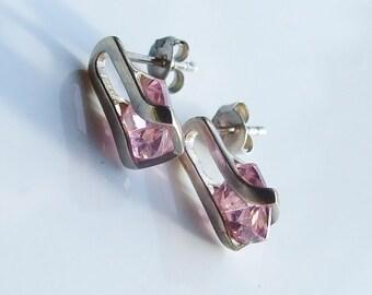Vintage 925 Sterling Silver Pink Crystal Drop Earrings