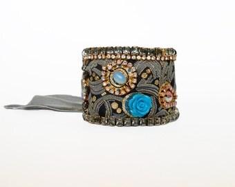 Leather Wrap Bracelet Bohemian Chic Bracelet Fabric Cuff Bracelet Festival Bracelet Swarovski Crystal Bracelet One Of A Kind Jewelry Hippie