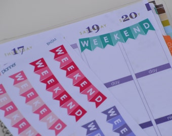 BN5 | Weekend Banner Two-Tone Multi Color Sticker | 8 Kiss-Cut Stickers |