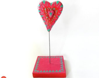Papier mache red-fuschia-turquoise heart on a wooden base,paper art,love,valentines day,sculpture,art object,home decor,gift for her