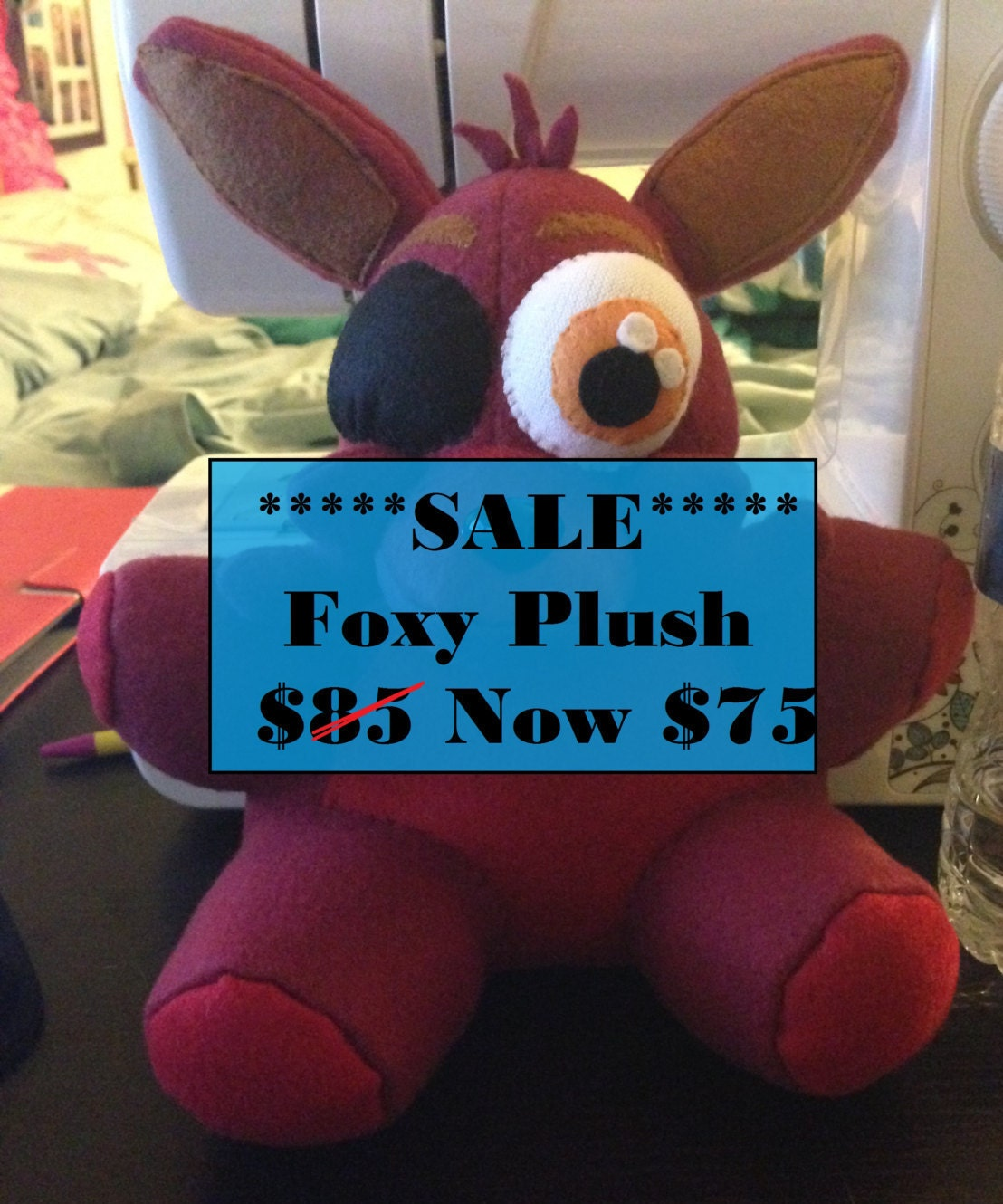 Sale five nights at freddy s foxy plush by lovedoctor07 on etsy
