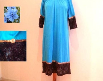 Turquoise tunic dress, brown lace dress, turquoise flowers, turquoise dress, long sleeves, tunic lace, womens dresses, turquoise dresses