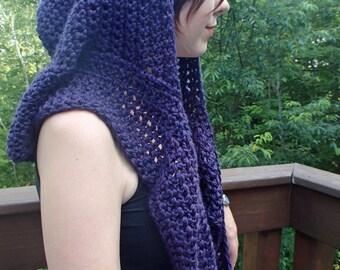 Purple infinity hooded scarf