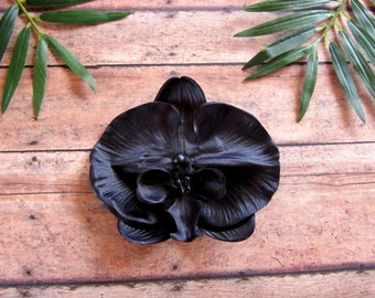 Black Orchid Clip, Large Black Orchid Hair Clip, Black Flower, Gothic Wedding