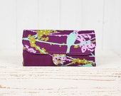 iPhone SmartPhone Clutch Wallet Purse 12 Card Slots with ID Pocket  /  Hello Birdie in Plum -- Ready to Ship