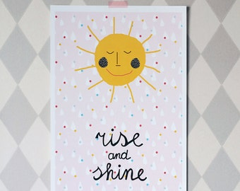 A3 size large poster/ Rise and shine sun sunshine