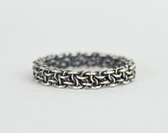 Sterling Silver Celtic Ring, Thin Oxidized Argentium Silver Chainmaille, Womens Mens Unique Band Stack Size 4 5 6 7 8 9 10 11 12 13 14 15 16