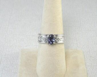Iolite Silver Ring Blue Gemstone Ring Artisan Silver Ring Large Stone Ring Faceted Stone Ring Wide Band Ring Light Blue Gemstone