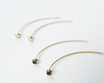 Blue Sapphire Spike Earrings OOAK Gold Filled