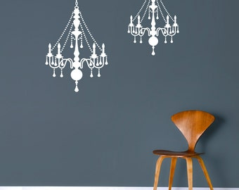 Chandelier Wall Decal, White, Black, Gold or Silver Metallic