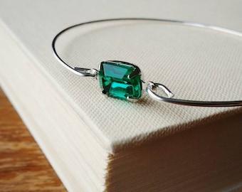 Emerald Bangle Bracelet.  Emerald Green Jewel Charm Bangle . Stackable Silver Bracelet. Stacking Green Glass Emerald Silver Bangle Bracelet