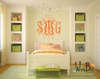 Personalized Monogram Wall Decal - Fancy Scroll Monogram-  Bedroom Decor - 3 letter Monogram Vinyl Lettering