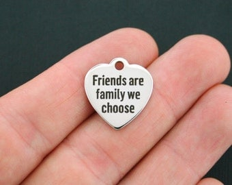 Friends Charm Polished Stainless Steel - Friends are the family we choose - Exclusive Line - Quantity Options  - BFS130
