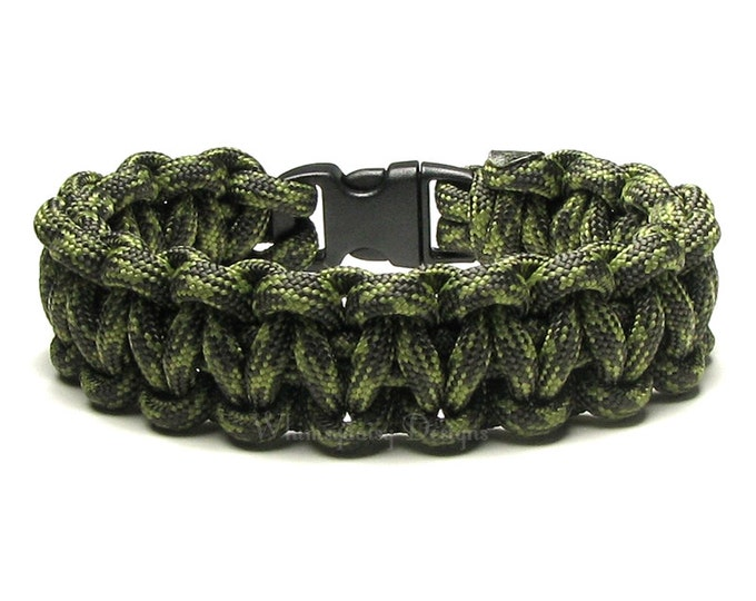 Paracord Bracelet Summer Camo Olive Green Army Survival Accessory Camouflage Military Gift For Men Women Veteran Army Outdoors Hunting Woods