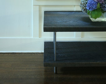 TV stand -  etagere - entertainment center - modern industrial, from reclaimed old growth wood and high recycled content steel