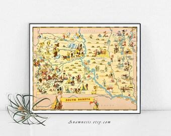 SOUTH DAKOTA MAP - Enhanced High Res Digital Image File - printable vintage map for framing, mugs, pillows, totes etc. - fun wedding art map