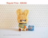 kawaii amigurumi bunny crocheted yellow fuzzy bunny, stuffed animal bunny plush, mini blue owl