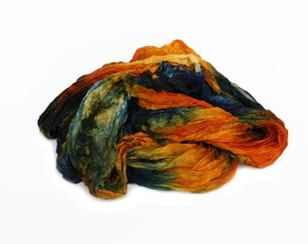 orange silk scarf - Spain  -  tangerine, orange, blue silk scarf.