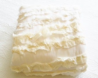 Vintage Romantic Home Heirloom White and Cafe au Lait Ruffled Duvet Cover, Olives and Doves