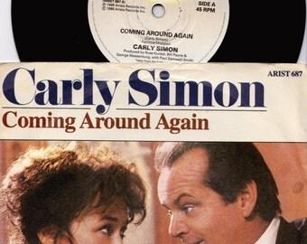 "CARLY SIMON Coming Around Again 1986 UK Issue 7"" 45 rpm Vinyl Single record pop 80s movie music heartburn nicholson Arist687 Free Shipping"