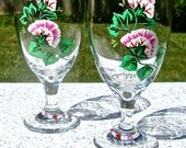 Painted Wine Glasses With Pink Flowers and Swarovski Crystal Wine Charms, Mothers Day Gift, Birthday Gift, Gift For Her