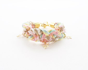 Pastel jewelry - girl birthday gift -cotton candy- fairy kei - sweet jewelry - braided bracelet - friendship bracelet - kawaii bracelet