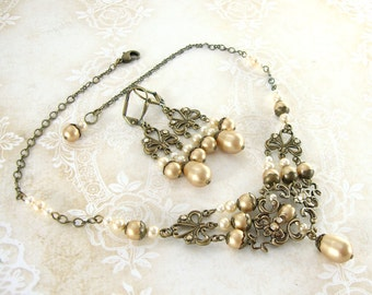 Vintage Style Wedding Jewelry - Swarovski Crystal Antique Victorian Style Bronze Brass Filigree Vintage Gold Pearl Set Necklace Earrings