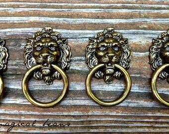 Lion Head Ring Pull Keeler Brass Company Dresser Pull Vintage Brass Drawer Pull  Furniture Hardware Cabinet