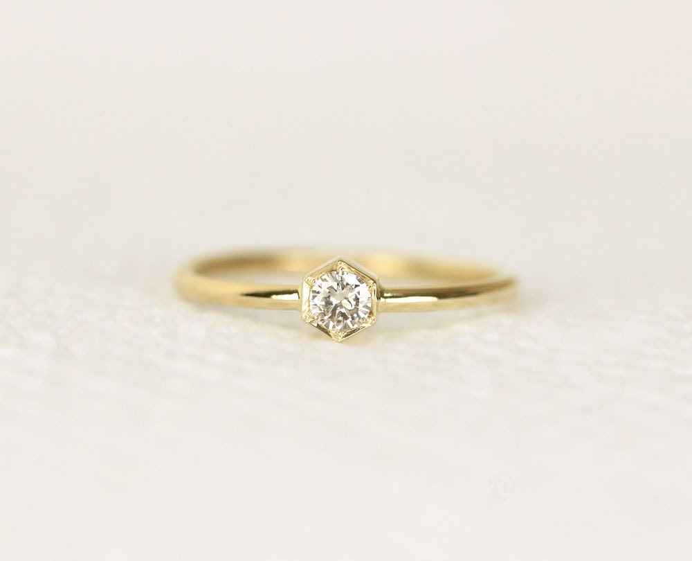 Hexagon Diamond Engagement Ring In 14k GoldWedding Diamond