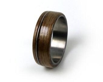 Guitar String Ring, Walnut Titanium Ring