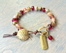 Raspberry Namaste Toggle Bracelet- Stained Glass Czech Bracelet with Brushed Gold