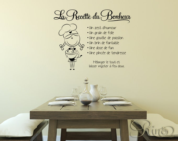 La Recette du Bonheur French quote Wall Decal Vinyl sticker home decor for diner room kitchen hapiness