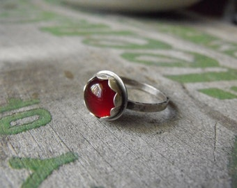 Sterling Silver Carnelian Ring Carnelian Statement Ring Red Stone Made to Order Carnelian Ring