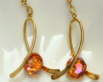 Gifts for Her, Swarovski Crystal Earrings, Long Gold Earrings, Astral Pink Earrings, Bridesmaid's Gift