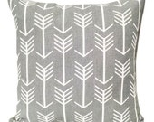Gray Arrow Pillow Cover, Cushion Cover, Tribal Throw Pillow Cover, Gray Pillow Cover, Storm Gray Arrows, Gray White Decor